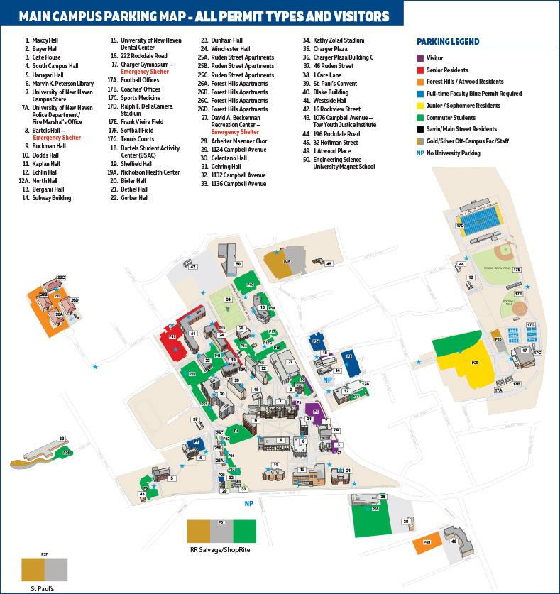 University Of New Haven Campus Map Parking   University of New Haven