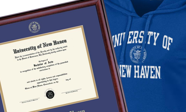 image of diploma frame and sweatshirt