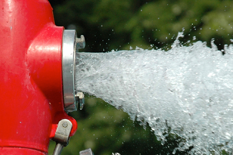 Water shooting out of a fire hydrant