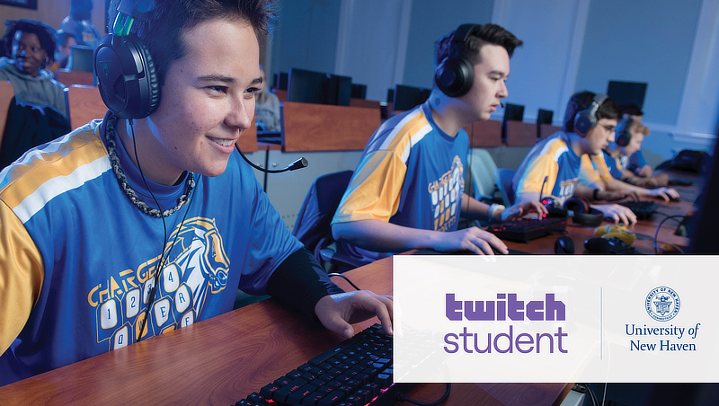 Photo of University of New Haven students with esports headsets.