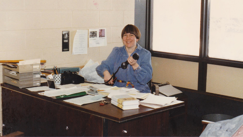 Becky Johnson in the student center office in 1981.