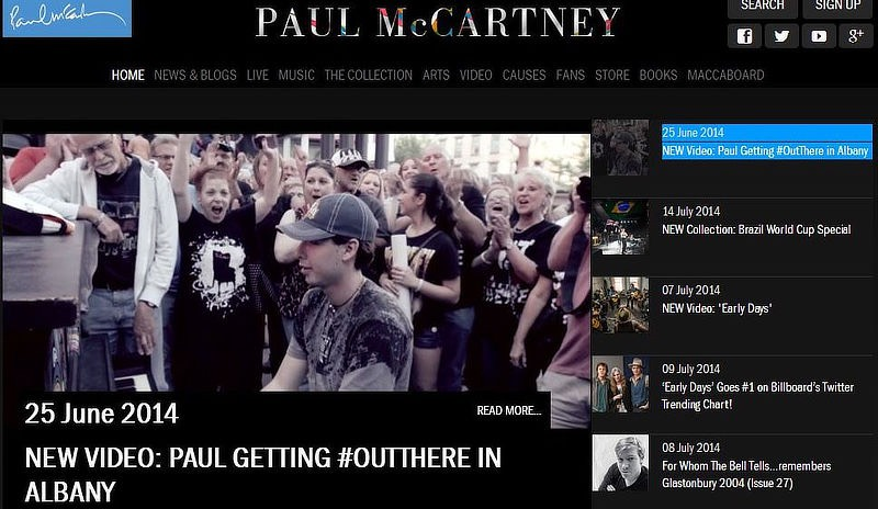 Image of Nathan Ward on Paul McCartney's Website.