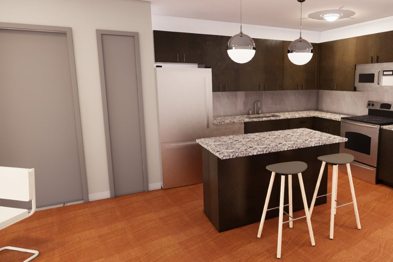 Photo of kitchen rendering