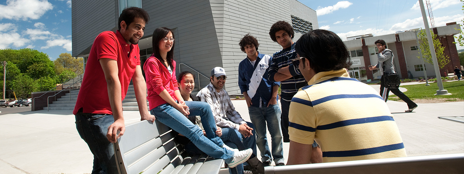 Image of international students on the University of New Haven campus.
