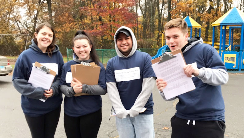 Students prepare to conduct exit polling