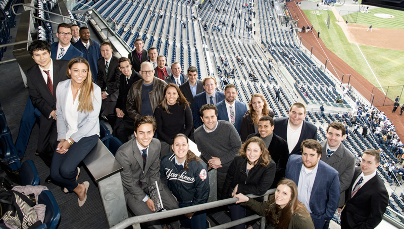 University of New Haven sport management students have the opportunity to visit a variety of venues to interact with professionals in the field. Here, they are pictured at Yankee Stadium in New York.
